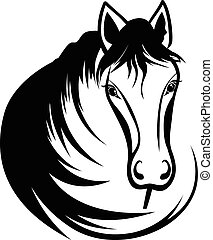 tête, cheval noir, crinière