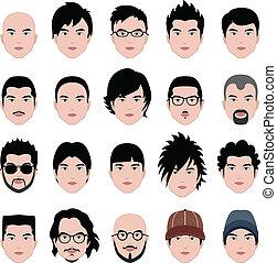 tête, coiffure, figure, cheveux, mâle, homme