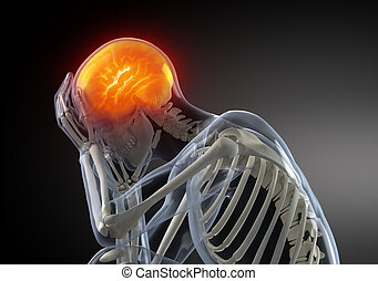tête, concept, douleur