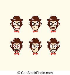tête, cow-boy, résumé, illustration, vecteur, gabarit