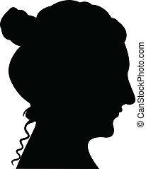 tête, dame, vecteur, silhouette