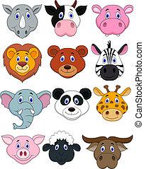 tête, dessin animé, animal, icône