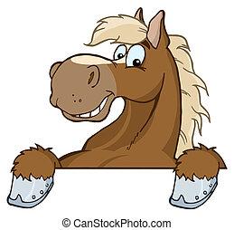 tête, dessin animé, mascotte, cheval