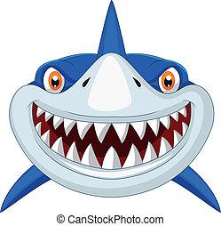 tête, dessin animé, requin