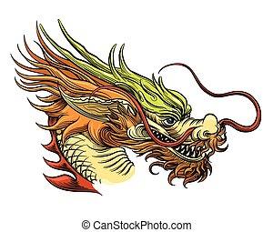 tête, dragon chinois