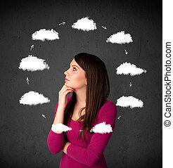 tête, femme, autour de, circulation, pensée, jeune, elle, nuage