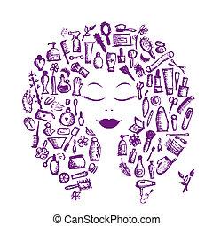 tête, femme, concept, cosmétique, accessoires, conception, femme, ton