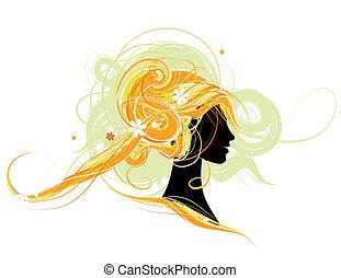 tête, femme, conception, silhouette, coiffure
