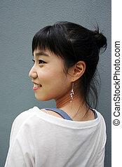 tête, femme, elle, tourné, jeune, séduisant, coréen