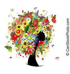 tête, femme, feuille, coiffure, quatre saisons, fleurs, conception