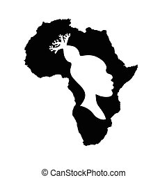 tête, femme, silhouette, baobab, afrique, coiffure, intérieur., américain, vecteur, noir, africaine, blanc