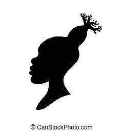tête, femme, silhouette, baobab, coiffure, illustration, américain, vecteur, africaine