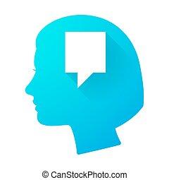 tête, femme, tooltip, icône