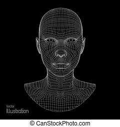tête, fil, polygone, grid., couverture, 3d, figure, polygonal, personne, skin., model., humain, géométrique, design., scanning., vue
