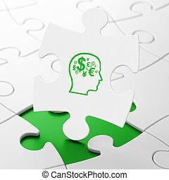 tête, finance, symbole, publicité, fond, puzzle, concept: