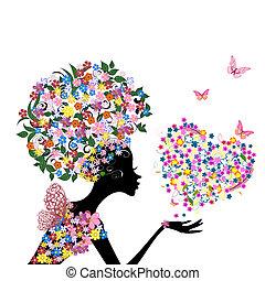 tête, fleurs, girl, elle, valentin