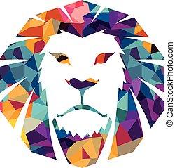 tête, graphique, gabarit, puissance, chat, illustration, signe, fierté, lion, vecteur, fort, animal, sauvage, logo, figure, créatif