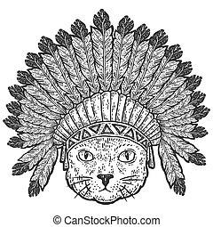 tête, gravure, vecteur, illustration., guerre, bonnets., plumes, chat