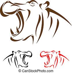 tête, hippopotame, vecteur