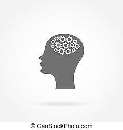tête, homme, mécanisme, icône