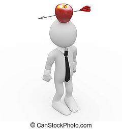 tête, homme, pomme rouge