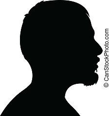 tête, homme, silhouette