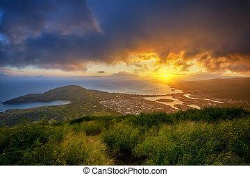 tête, koko, sur, baie, coucher soleil, hanauma, cratère