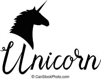 tête, licorne, cheval, mythique