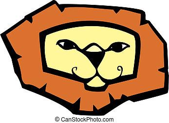 tête, lion