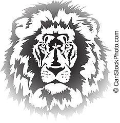 tête, lion, gradient