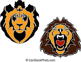tête, lions, dessin animé