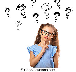 tête, lunettes, au-dessus, haut, pensée, beaucoup, fond, isolé, illustration, marque, regarder, space., questions, amusement, girl, copie, blanc, vide, heureux
