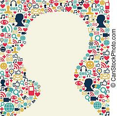 tête, média, texture, social, icône, homme