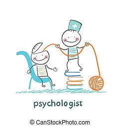 tête, malade, psychologue, livres, fils, récupérations directes, pile
