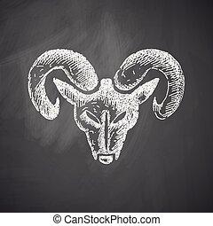 tête, marteau, icône