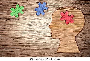 tête, mental, puzzle., silhouette, symbole., santé, humain