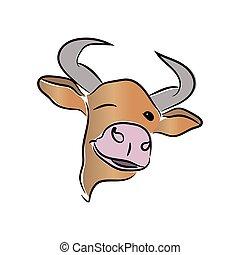 tête, ox., arrière-plan., symbole, mode, illustration., vecteur, année, coups, blanc, métal, taureau, 2021