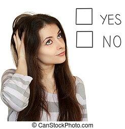 tête, pensée femme, décision, isolé, no., fond, confection, portrait, blanc, oui, ou