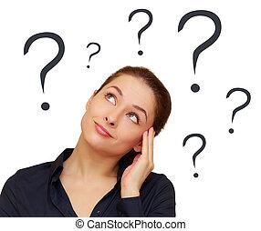 tête, pensée femme, question, isolé, au-dessus, marques