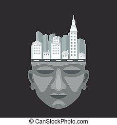 tête plate, conception, ville, homme