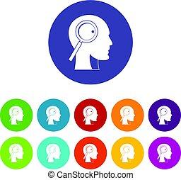 tête plate, ensemble, icônes, verre, vecteur, magnifier