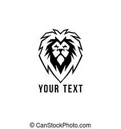 tête plate, lion, vecteur, noir, sauvage, conception, blanc, logo