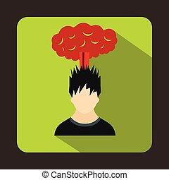 tête plate, sur, style, nuage, icône, rouges, homme