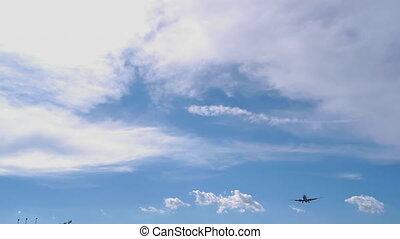 tête, poursuite, voler, avion, sur