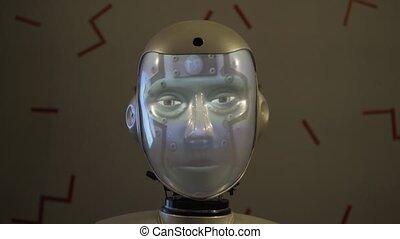 tête, robot's, figure, illumination, parle, changements