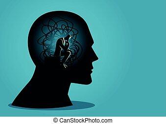 tête, séance, enchevêtré, humain, cordes, homme