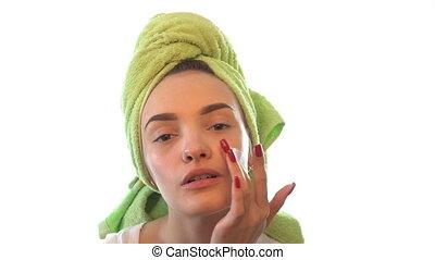 tête, serviette, elle, jeune, doucement, causer, girl, crème type caractère