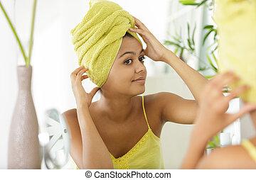 tête, serviette, portrait, femme