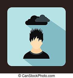 tête, sien, déprimé, sur, sombre, homme, nuage, icône
