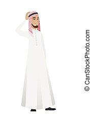 tête, sien, musulman, jeune, grattement, homme affaires